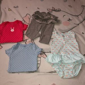 Lot Of Four 18 Month Baby Girl Pants Onesies